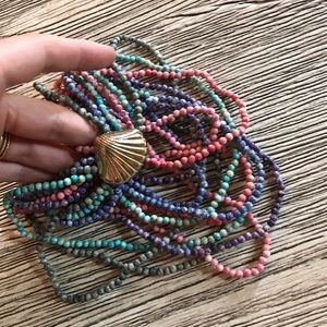 American Vintage Jewelry - EUC! Vintage Beaded Necklace W/ Shell Clasp.
